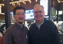 Eurasian Area Bishop Eduard Khegay (left) was without his wallet at New York's LaGuardia Airport when he got unexpected assistance from the Rev. John Wimmer, a United Methodist clergyman who noticed Khegay's bishop's lapel pin. Photo courtesy of the Rev. Wimmer.