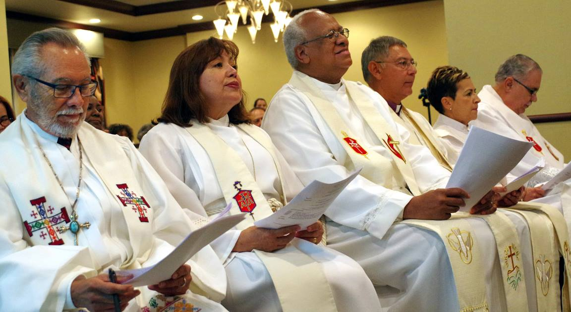 The Hispanic-Latino bishops of The United Methodist Church celebrated opening worship at the 2016 MARCHA Assembly in San Juan, Puerto Rico. Shown, from left: Bishop Elías Galván, Bishop Minerva Carcaño, Bishop Rafael Moreno Rivas, Bishop Juan Vera Mendez, Bishop Cynthia Fierro Harvey and Bishop Hector Ortiz. Photo by the Rev. Gustavo Vasquez, United Methodist Communications