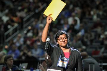 Ann Jacob, reserve delegate from the Eastern Pennsylvania Conference, ask to speak during the 2016 United Methodist General Conference. Photo by Maile Bradfield, United Methodist Communications.
