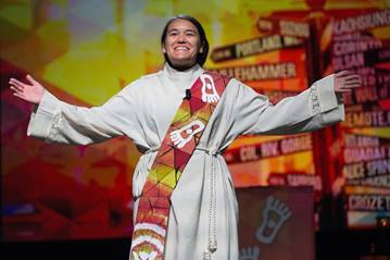 The Rev. Megan Shitama Weston leads worship during the 2016 United Methodist General Conference. File photo by Mike DuBose, United Methodist Communications.