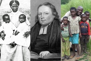 Missions in the Methodist Episcopal Church were started by Thomas Coke (c) and passed on through missionaries such as Susan Angeline Collins (l) and Alfred Zigbuo (r). Photo illustration by Vicki Brown, United Methodist Communications.